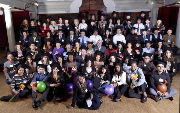 Groepsfoto vluchtelingstudenten 2012