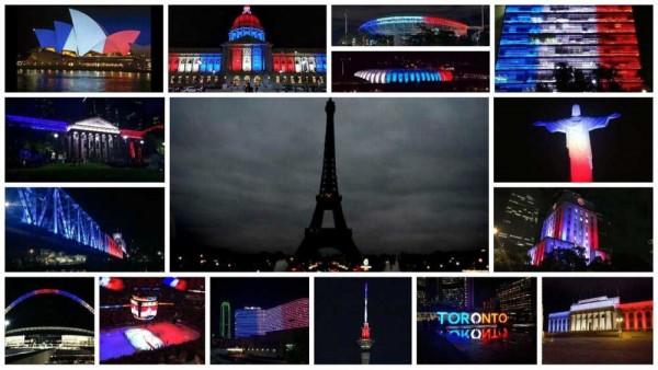 gebouwen verlicht in de kleuren van de Franse vlag